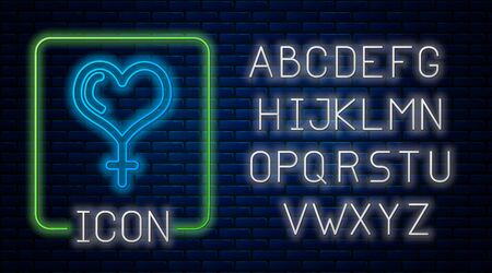 Glowing neon Female gender symbol and heart icon isolated on brick wall background. Venus symbol. The symbol for a female organism or woman. Neon light alphabet. Vector Illustration