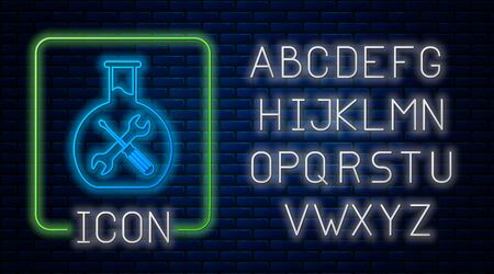 Glowing neon Bioengineering with screwdriver and wrench icon isolated on brick wall background. Adjusting, service, setting, maintenance, repair, fixing. Neon light alphabet. Vector Illustration Фото со стока - 130712360