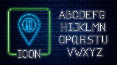 Glowing neon Location with crossed screwdriver and wrench tools icon isolated on brick wall background. Pointer settings symbol. Neon light alphabet. Vector Illustration 일러스트