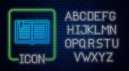 Glowing neon Open book icon isolated on brick wall background. Neon light alphabet. Vector Illustration Çizim