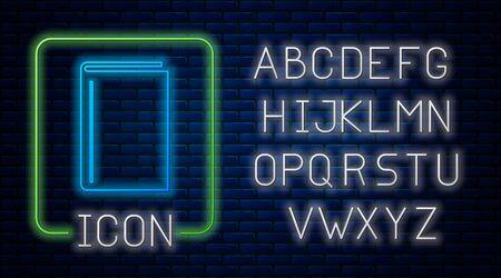 Glowing neon Book icon isolated on brick wall background. Neon light alphabet. Vector Illustration Çizim