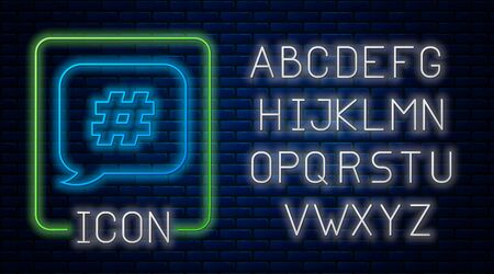 Glowing neon Hashtag speech bubble icon isolated on brick wall background. Concept of number sign, social media marketing, micro blogging. Neon light alphabet. Vector Illustration Çizim