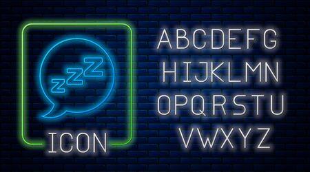 Glowing neon Speech bubble with snoring icon isolated on brick wall background. Concept of sleeping, insomnia, alarm clock app, deep sleep, awakening. Neon light alphabet. Vector Illustration