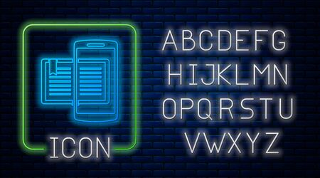 Glowing neon Smartphone and book icon isolated on brick wall background. Online learning or e-learning concept. Neon light alphabet. Vector Illustration