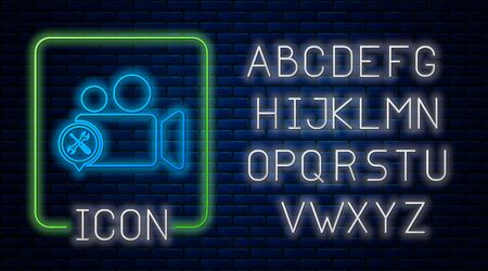Glowing neon Video camera with screwdriver and wrench icon isolated on brick wall background. Adjusting, service, setting, maintenance, repair, fixing. Neon light alphabet. Vector Illustration