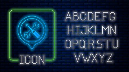 Glowing neon Location with crossed screwdriver and wrench tools icon isolated on brick wall background. Pointer settings symbol. Neon light alphabet. Vector Illustration Illustration