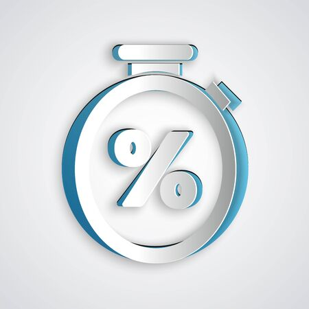 Paper cut Stopwatch and percent discount icon isolated on grey background. Time timer sign. Paper art style. Vector Illustration Banque d'images - 130713003