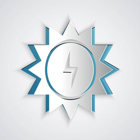 Paper cut Solar energy panel icon isolated on grey background. Sun with lightning symbol. Paper art style. Vector Illustration Ilustracja