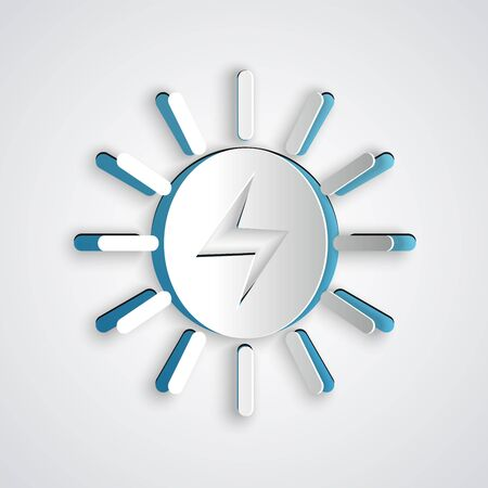 Paper cut Solar energy panel icon isolated on grey background. Paper art style. Vector Illustration