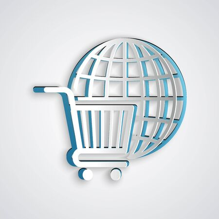 Paper cut Shopping cart with globe icon isolated on grey background. Online buying concept. Global market concept. Supermarket basket symbol. Paper art style. Vector Illustration