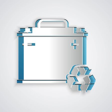 Paper cut Car battery with recycle icon isolated on grey background. Accumulator battery energy power and electricity accumulator battery. Paper art style. Vector Illustration  イラスト・ベクター素材