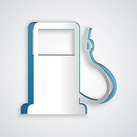 Paper cut Petrol or Gas station icon isolated on grey background. Car fuel symbol. Gasoline pump. Paper art style. Vector Illustration