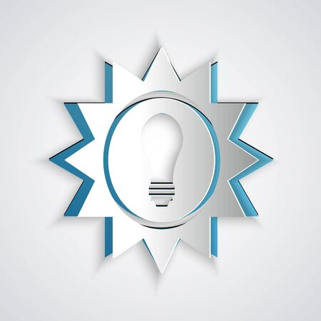 Paper cut Solar energy panel icon isolated on grey background. Sun and light bulb. Paper art style. Vector Illustration Ilustracja