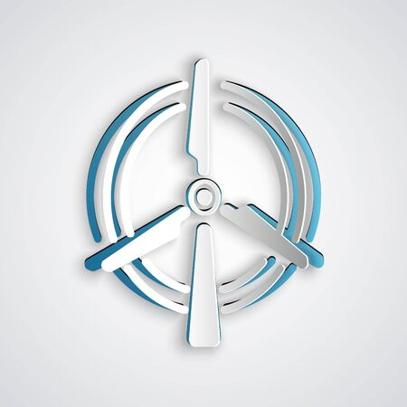 Paper cut Rotating wind turbine icon isolated on grey background. Wind generator sign. Windmill for electric power production. Paper art style. Vector Illustration Ilustracja