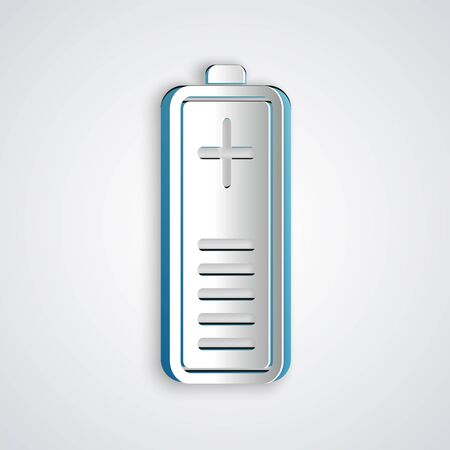 Paper cut Battery charge level indicator icon isolated on grey background. Paper art style. Vector Illustration  イラスト・ベクター素材