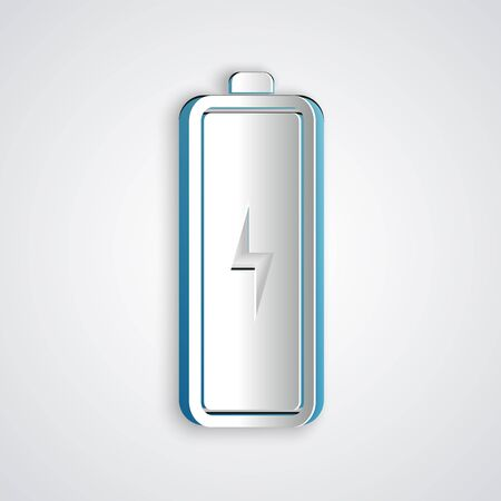 Paper cut Battery icon isolated on grey background. Lightning bolt symbol. Paper art style. Vector Illustration  イラスト・ベクター素材