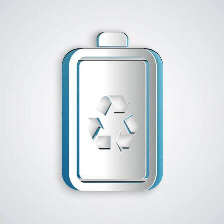 Paper cut Battery with recycle symbol line icon isolated on grey background. Battery with recycling symbol - renewable energy concept. Paper art style. Vector Illustration