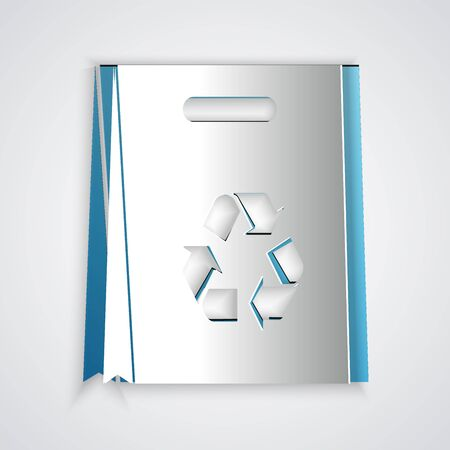 Paper cut Paper shopping bag with recycle icon isolated on grey background. Bag with recycling symbol. Paper art style. Vector Illustration