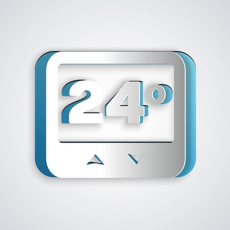 Paper cut Thermostat icon isolated on grey background. Temperature control. Paper art style. Vector Illustration