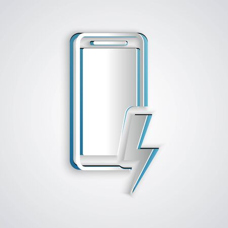 Paper cut Smartphone charging battery icon isolated on grey background. Phone with a low battery charge. Paper art style. Vector Illustration