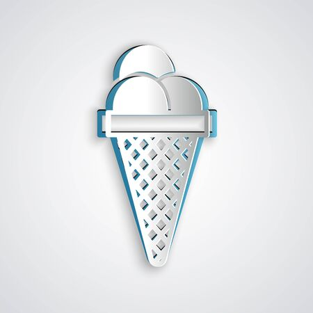 Paper cut Ice cream in waffle cone icon isolated on grey background. Sweet symbol. Paper art style. Vector Illustration Иллюстрация
