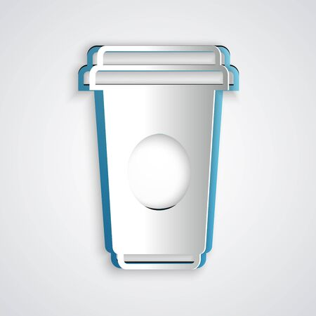 Paper cut Coffee cup icon isolated on grey background. Disposable coffee cup with hot coffee. Paper art style. Vector Illustration Çizim