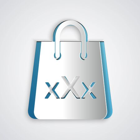 Paper cut Shopping bag with a triple X icon isolated on grey background. Paper art style. Vector Illustration