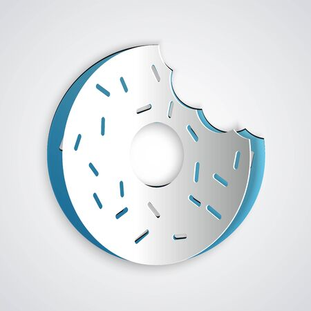 Paper cut Donut with sweet glaze icon isolated on grey background. Paper art style. Vector Illustration