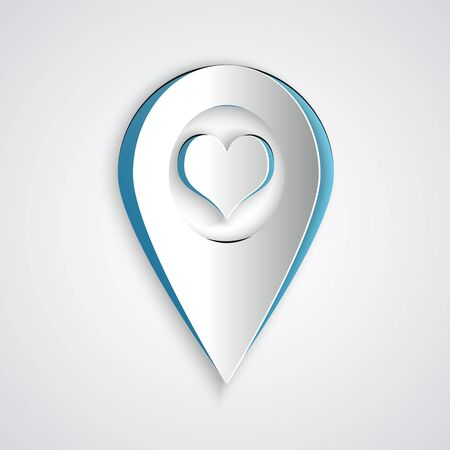 Paper cut Map pointer with heart icon isolated on grey background. Paper art style. Vector Illustration Illustration