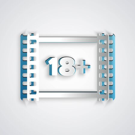 Paper cut Play Video with inscription 18 plus icon isolated on grey background. Age restriction symbol. 18 plus content sign. Adult channel. Paper art style. Vector Illustration