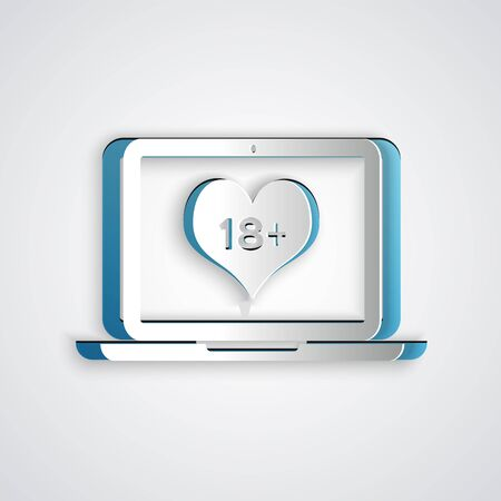 Paper cut Laptop computer with 18 plus content heart icon isolated on grey background. Age restriction symbol. 18 plus content sign. Adult channel. Paper art style. Vector Illustration Çizim