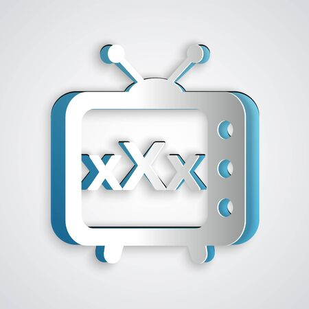 Paper cut XXX tv old television icon isolated on grey background. Age restriction symbol. 18 plus content sign. Adult channel. Paper art style. Vector Illustration Çizim