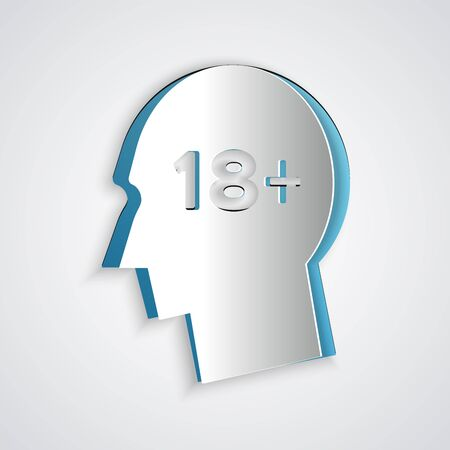 Paper cut Human head with inscription 18 plus icon isolated on grey background. 18 plus content sign. Adults content only icon. Paper art style. Vector Illustration Çizim