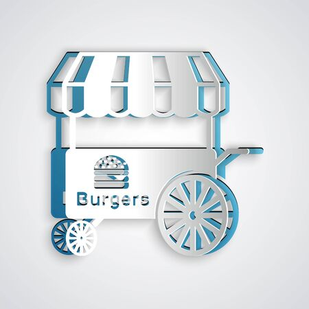 Paper cut Fast street food cart with awning icon isolated on grey background. Burger or hamburger icon. Urban kiosk. Paper art style. Vector Illustration Stock Illustratie