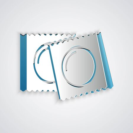 Paper cut Condoms in package safe sex icon isolated on grey background. Safe love symbol. Contraceptive method for male. Paper art style. Vector Illustration