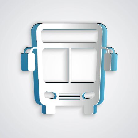 Paper cut Bus icon isolated on grey background. Transportation concept. Bus tour transport sign. Tourism or public vehicle symbol. Paper art style. Vector Illustration