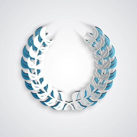 Paper cut Laurel wreath icon isolated on grey background. Triumph symbol. Paper art style. Vector Illustration Banque d'images - 130772330