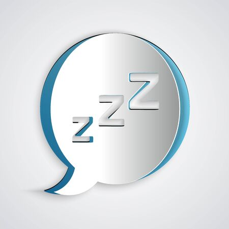 Paper cut Speech bubble with snoring icon isolated on grey background. Concept of sleeping, insomnia, alarm clock app, deep sleep, awakening. Paper art style. Vector Illustration 写真素材 - 130720950