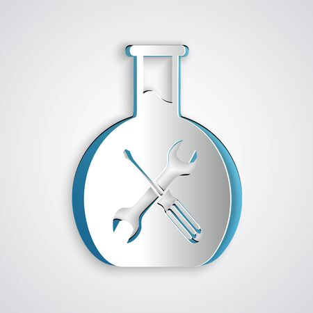 Paper cut Bioengineering with screwdriver and wrench icon isolated on grey background. Adjusting, service, setting, maintenance, repair, fixing. Paper art style. Vector Illustration Фото со стока - 130720957
