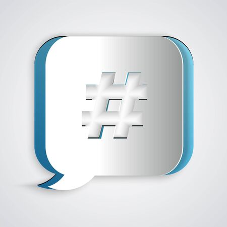 Paper cut Hashtag speech bubble icon isolated on grey background. Concept of number sign, social media marketing, micro blogging. Paper art style. Vector Illustration