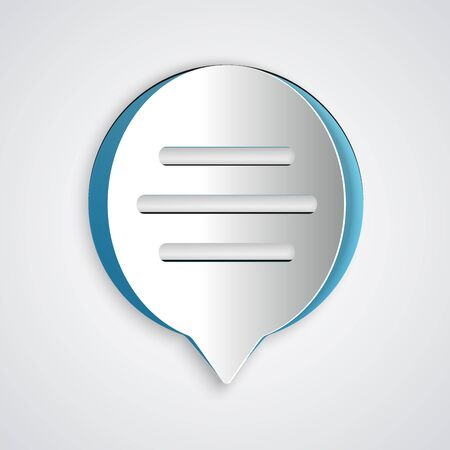 Paper cut Speech bubble chat icon isolated on grey background. Message icon. Communication or comment chat symbol. Paper art style. Vector Illustration Иллюстрация