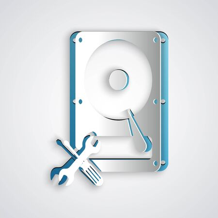 Paper cut Hard disk drive with screwdriver and wrench icon isolated on grey background. Adjusting, service, setting, maintenance, repair, fixing. Paper art style. Vector Illustration