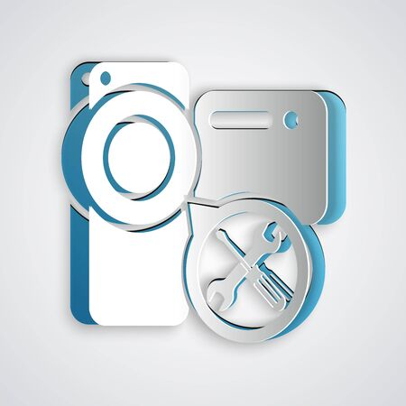 Paper cut Video camera with screwdriver and wrench icon isolated on grey background. Adjusting, service, setting, maintenance, repair, fixing. Paper art style. Vector Illustration