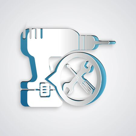 Paper cut Drill machine with screwdriver and wrench icon isolated on grey background. Adjusting, service, setting, maintenance, repair, fixing. Paper art style. Vector Illustration 일러스트