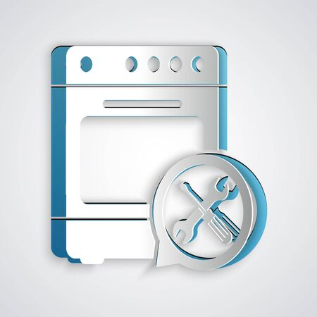 Paper cut Oven with screwdriver and wrench icon isolated on grey background. Adjusting, service, setting, maintenance, repair, fixing. Paper art style. Vector Illustration 矢量图像
