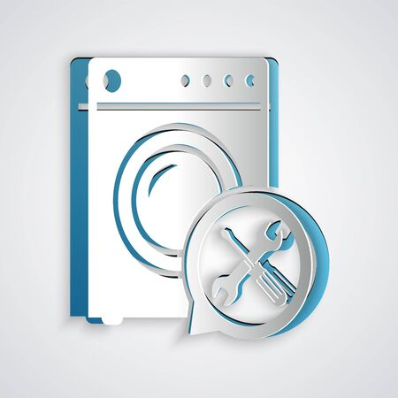 Paper cut Washer with screwdriver and wrench icon isolated on grey background. Adjusting, service, setting, maintenance, repair, fixing. Paper art style. Vector Illustration
