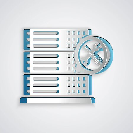 Paper cut Database server with screwdriver and wrench icon isolated on grey background. Adjusting, service, setting, maintenance, repair, fixing. Paper art style. Vector Illustration Illustration