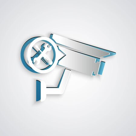 Paper cut Security camera with screwdriver and wrench icon isolated on grey background. Adjusting, service, setting, maintenance, repair, fixing. Paper art style. Vector Illustration Ilustração