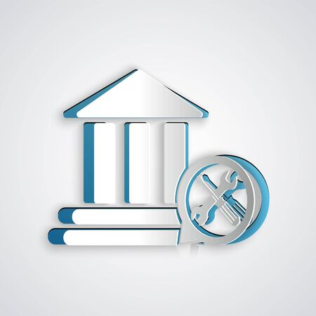 Paper cut Bank building with screwdriver and wrench icon isolated on grey background. Adjusting, service, setting, maintenance, repair, fixing. Paper art style. Vector Illustration Çizim