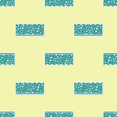 Green Sponge with bubbles icon isolated seamless pattern on yellow background. Wisp of bast for washing dishes.
